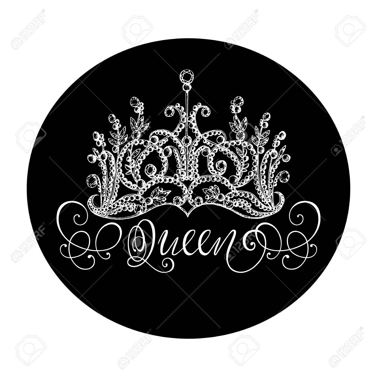 Elegant Hand Drawn Queen Crown With Lettering White Silhouettes