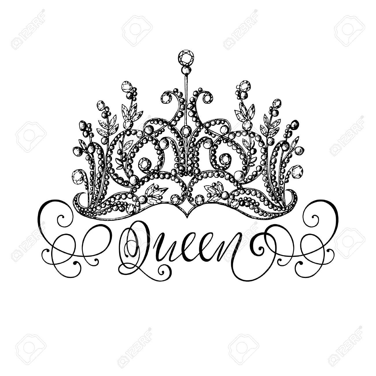 Corona De La Reina A Mano Elegante Con Las Letras Ejemplo Blanco Y