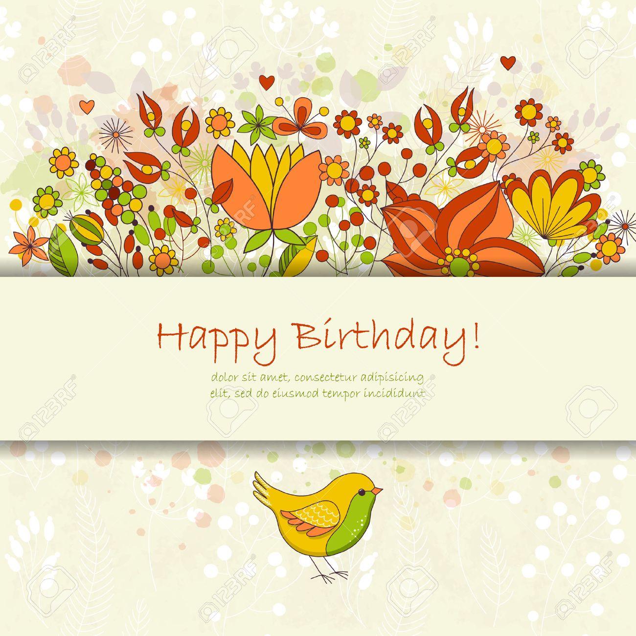 Happy birthday greeting card with flowers and bird cute colorful happy birthday greeting card with flowers and bird cute colorful floral party invitation reklamn izmirmasajfo