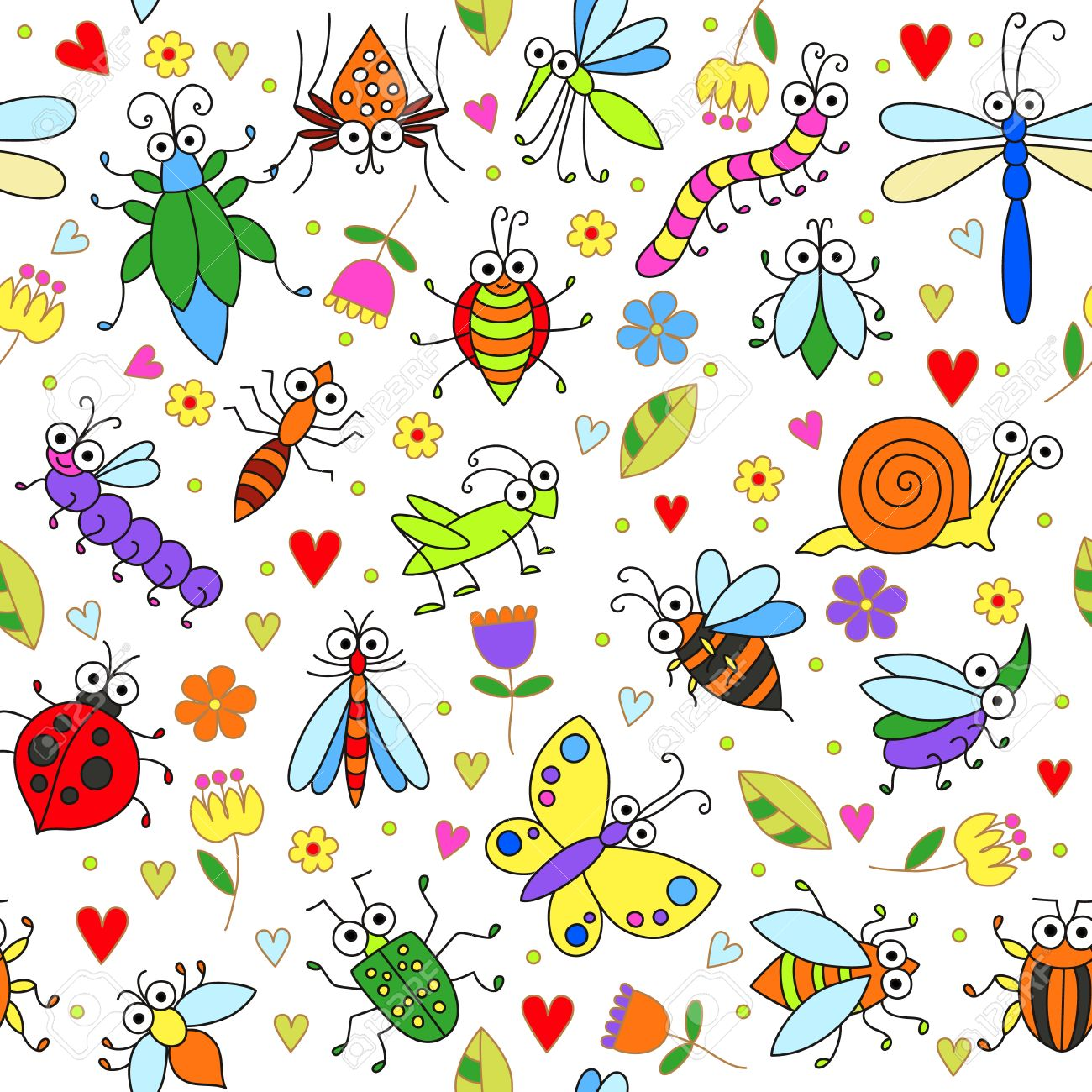 Seamless Background With Funny Cartoon Insects Cute Fly