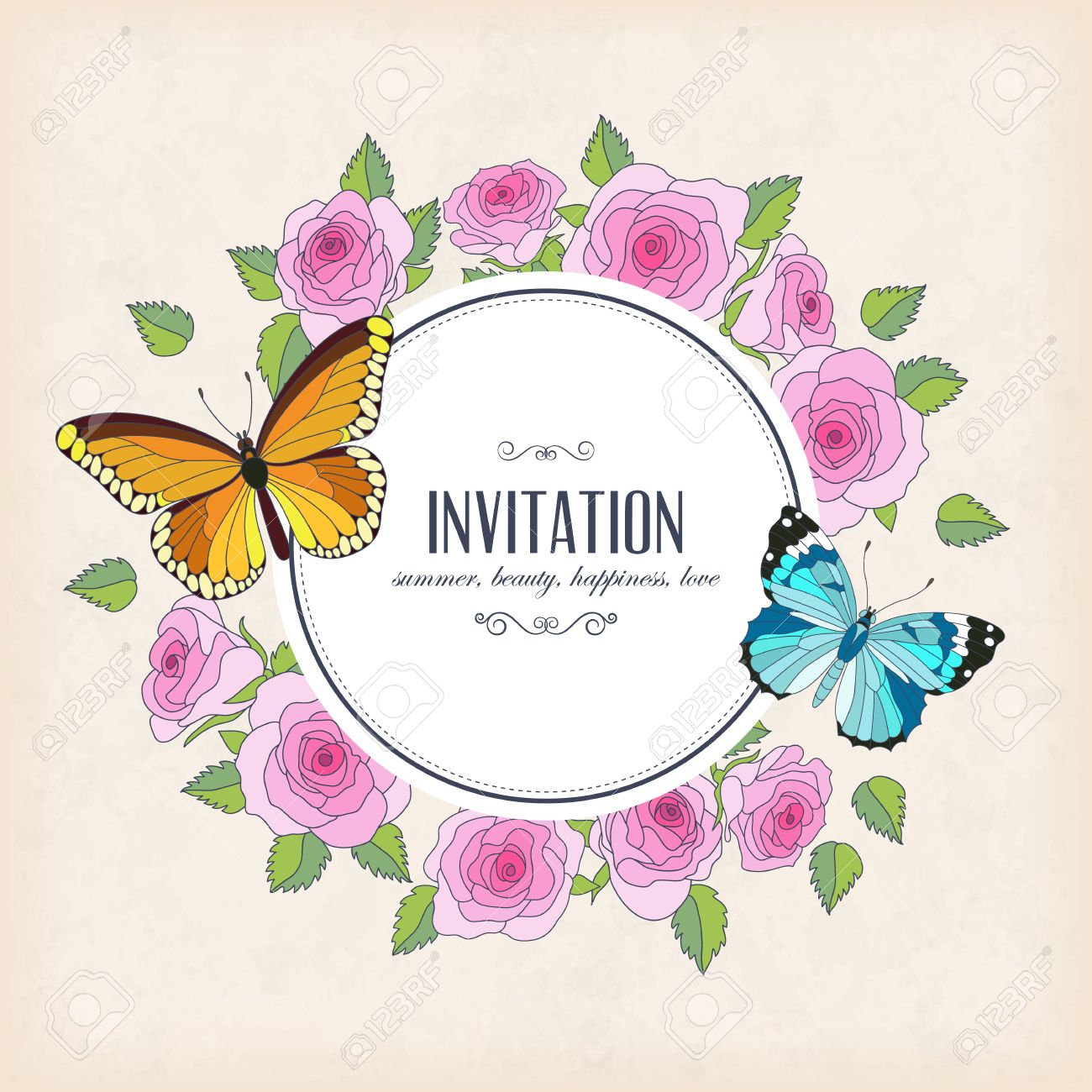 Vector Invitation Card With Butterflies And Roses Round Frame