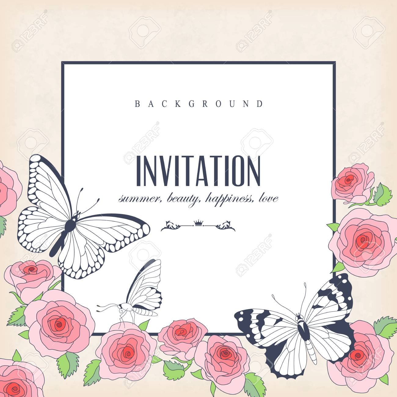 Vector Invitation Card With Butterflies And Roses. Square Frame ...