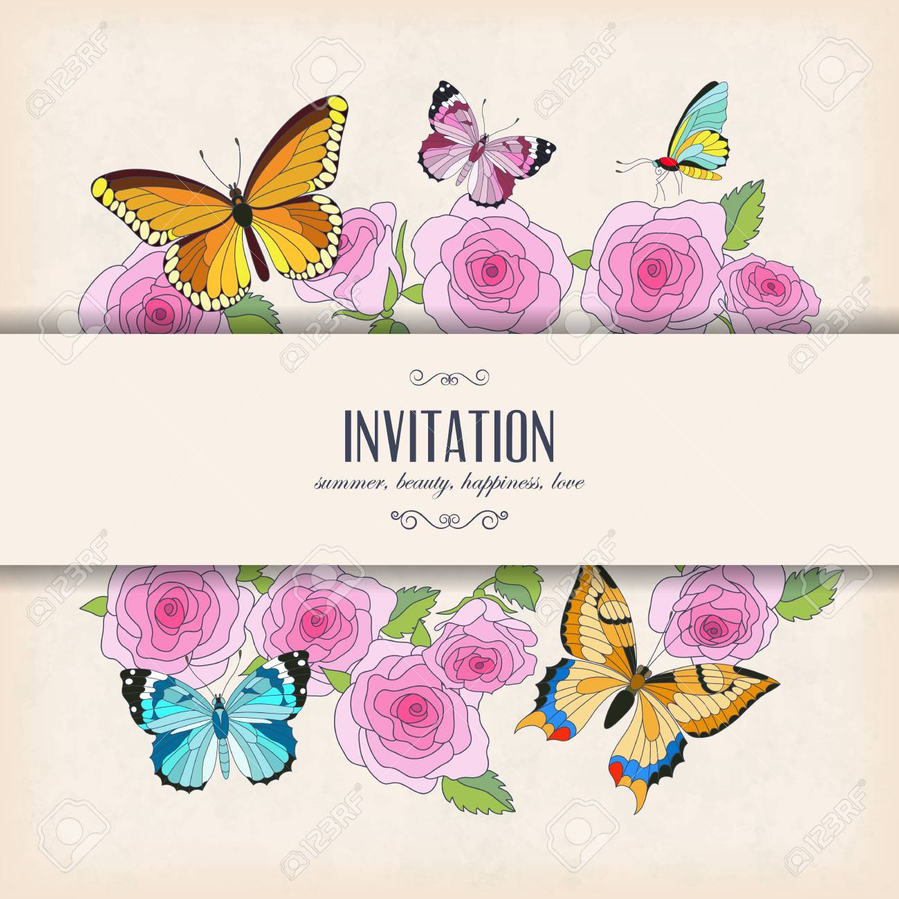 Vector Invitation Card With Butterflies And Roses Place For