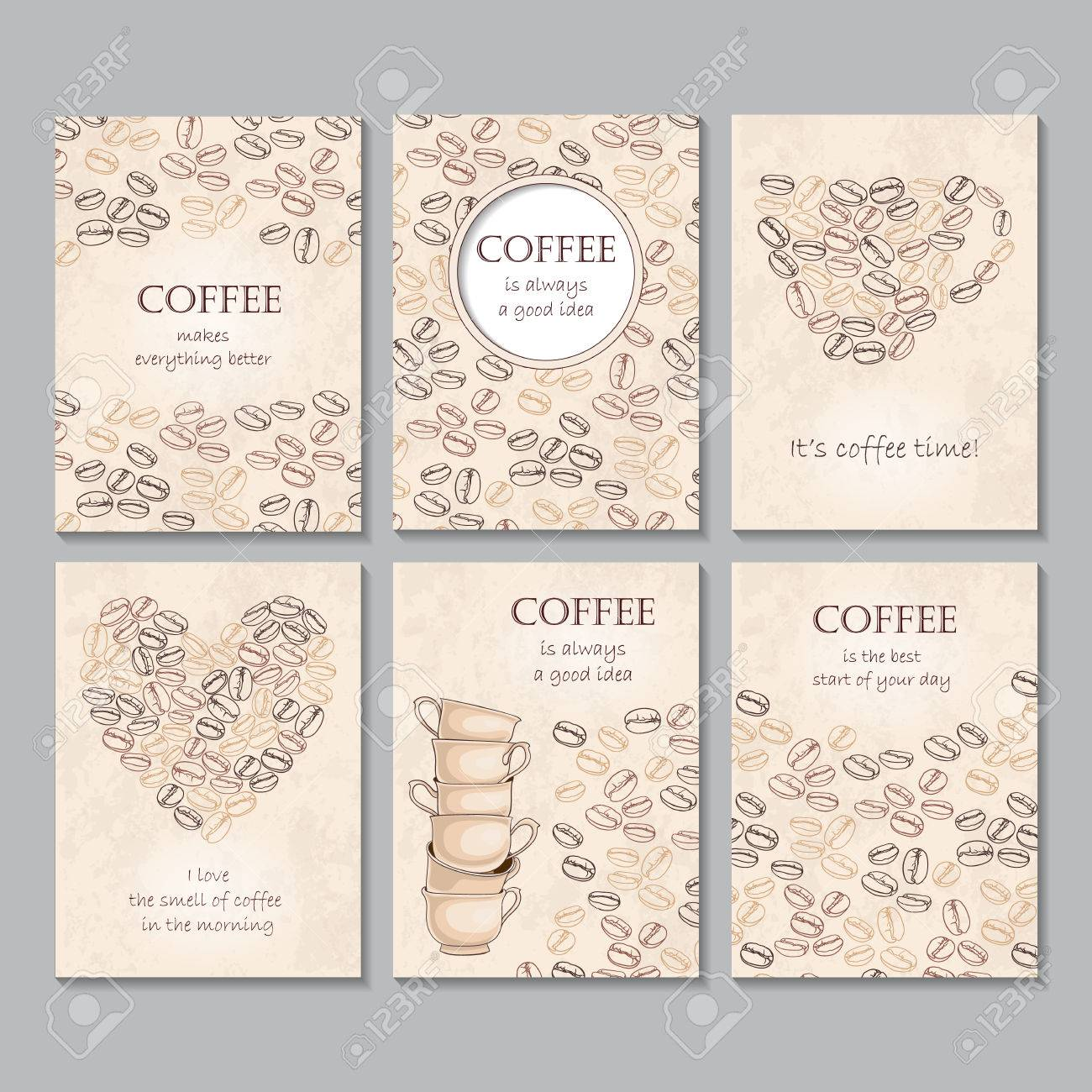 Set Of Six Vertical Cards With Coffee Beans And Quotes Shape