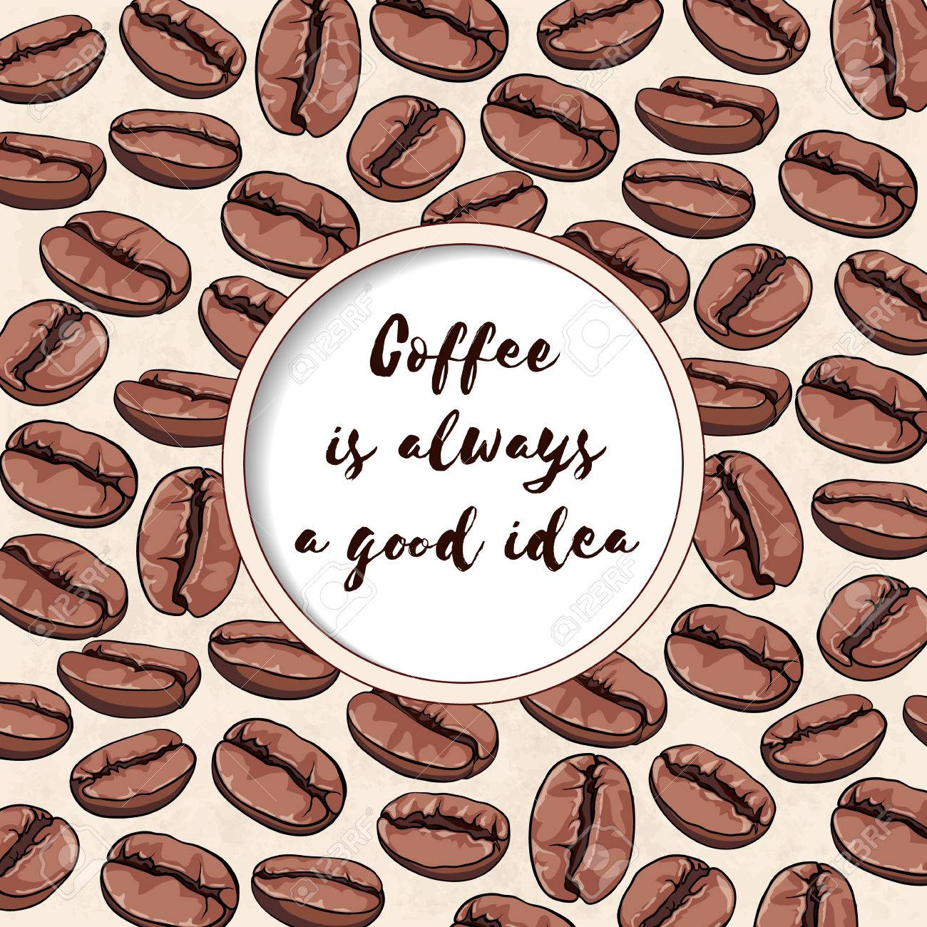 Round Frame With A Quote About Coffee Illustration Place For Royalty Free Cliparts Vectors And Stock Illustration Image 62125812