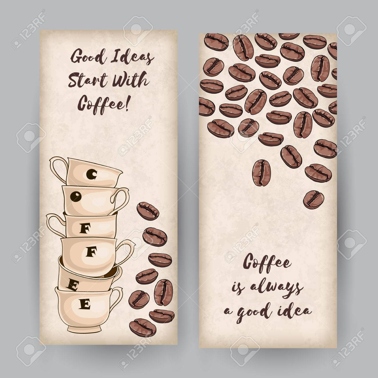 set of two vertical banners coffee cups and beans place