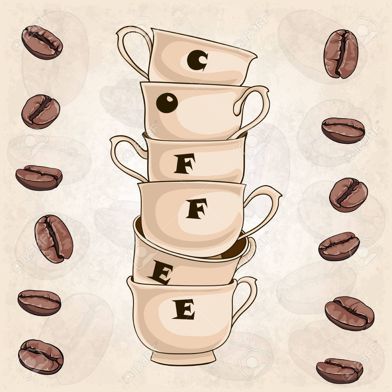 Background With Coffee Cups And Beans Coffee Shop Menu Design Royalty Free Cliparts Vectors And Stock Illustration Image 62125820
