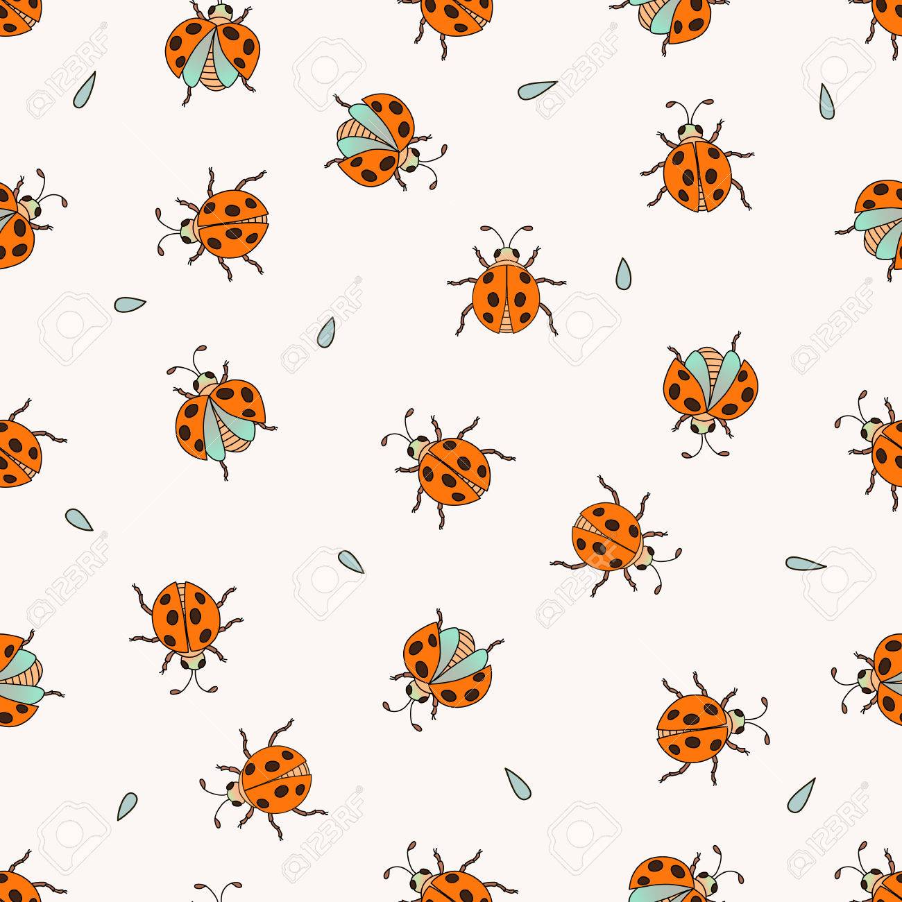 Seamless cute pattern with ladybugs hand drawn pattern perfect seamless cute pattern with ladybugs hand drawn pattern perfect for greetings invitations stopboris Images