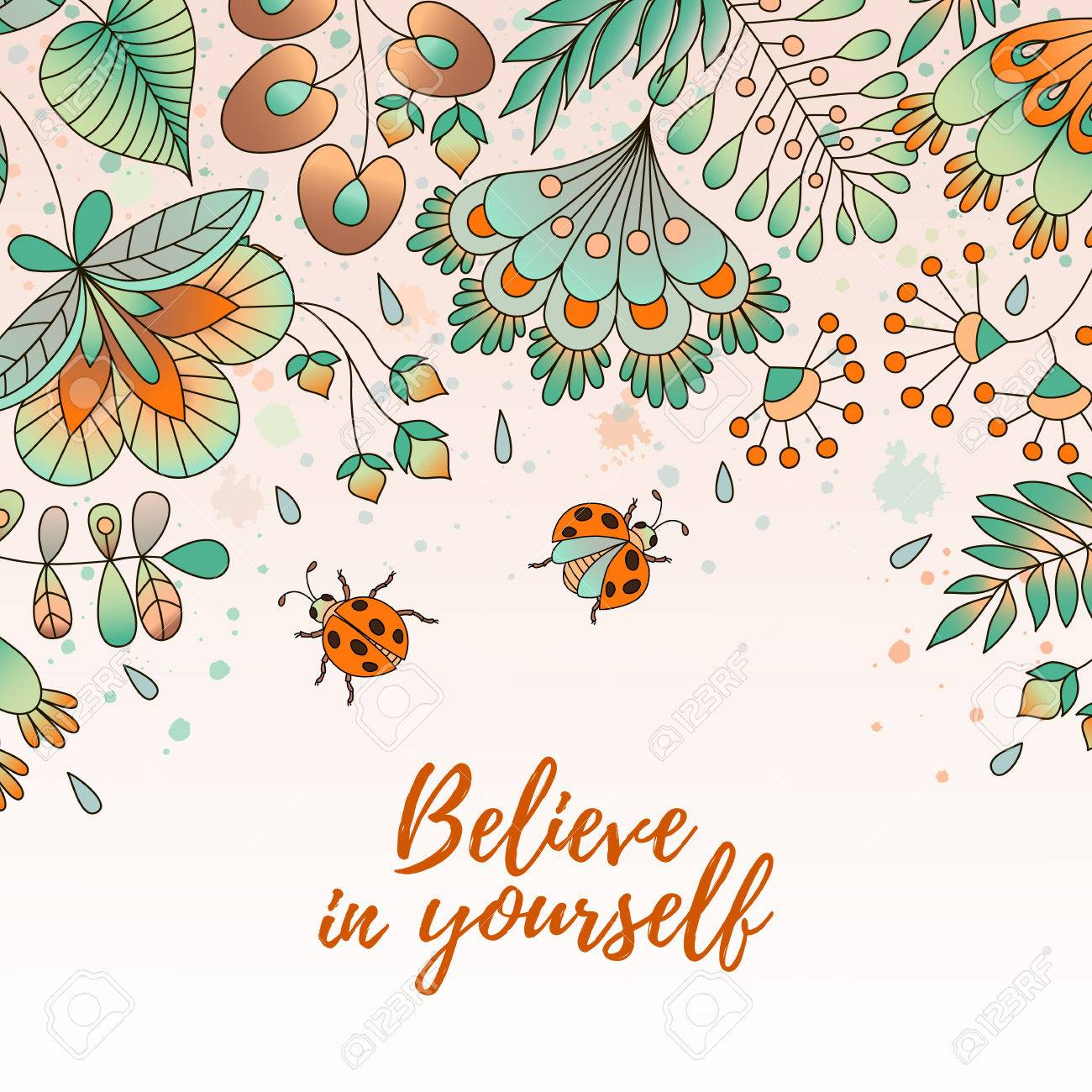 Card with flowers and ladybugs cute colorful floral background card with flowers and ladybugs cute colorful floral background believe in yourself perfect solutioingenieria Choice Image