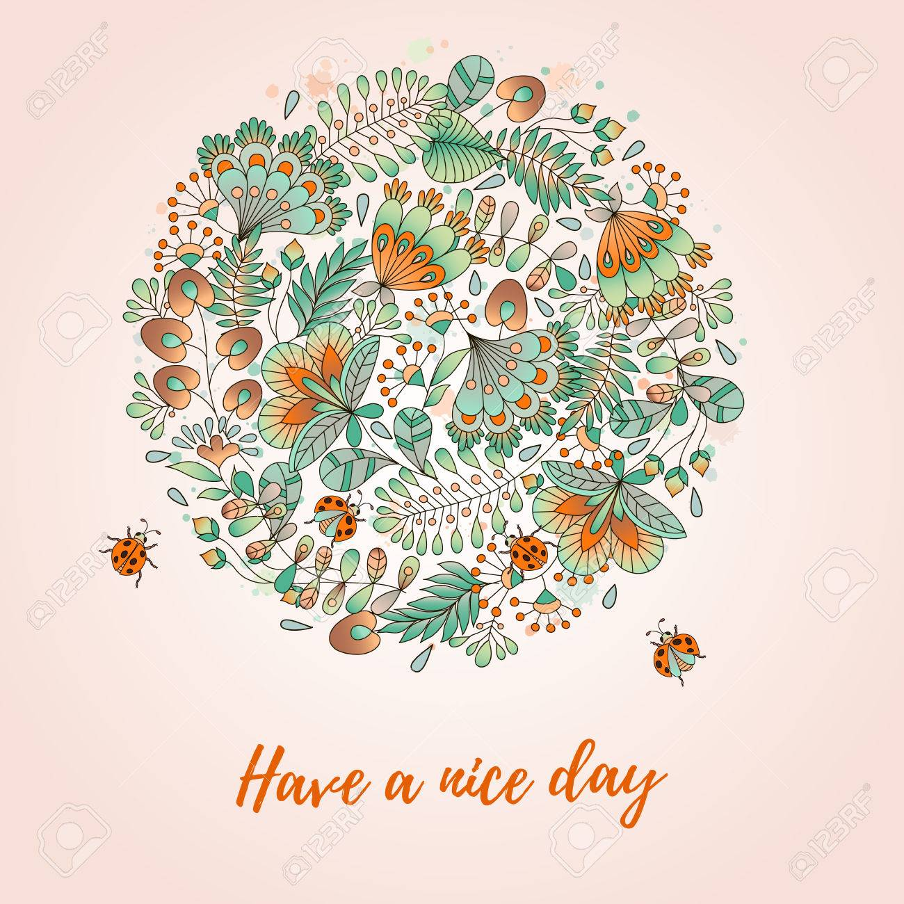 Card with flowers and ladybugs cute colorful floral backgroundhave card with flowers and ladybugs cute colorful floral backgroundhave a nice day stopboris Images