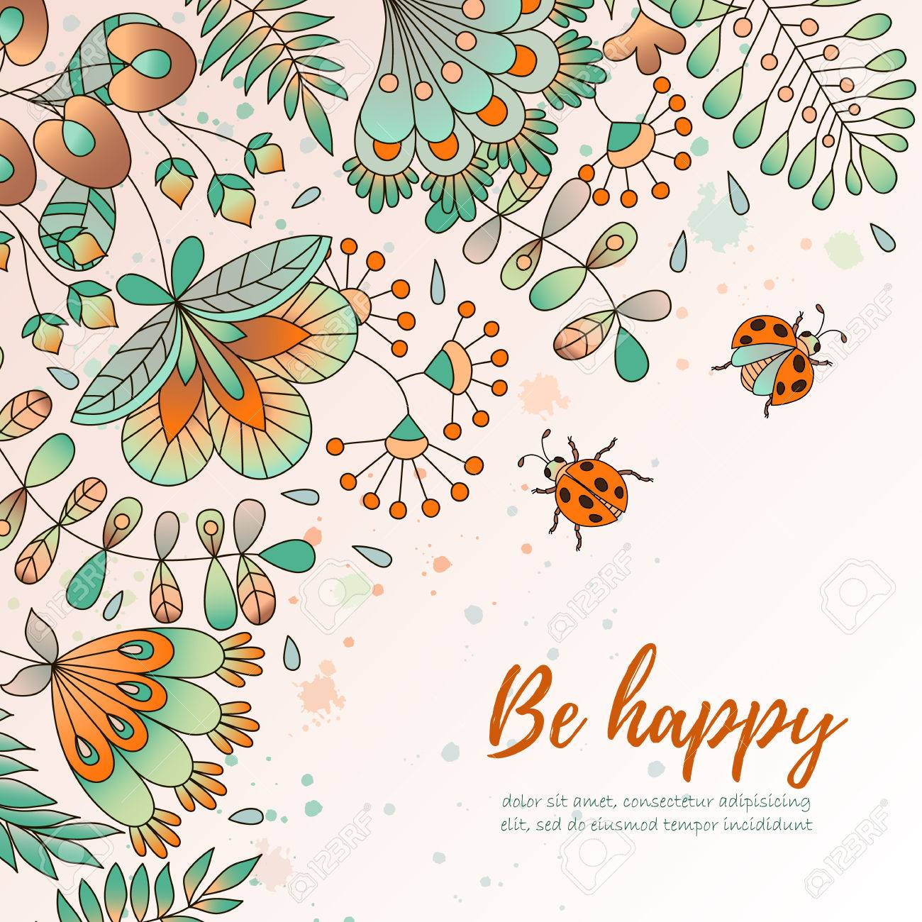 Card with flowers and ladybugs cute colorful floral background card with flowers and ladybugs cute colorful floral background be happy perfect for stopboris Images