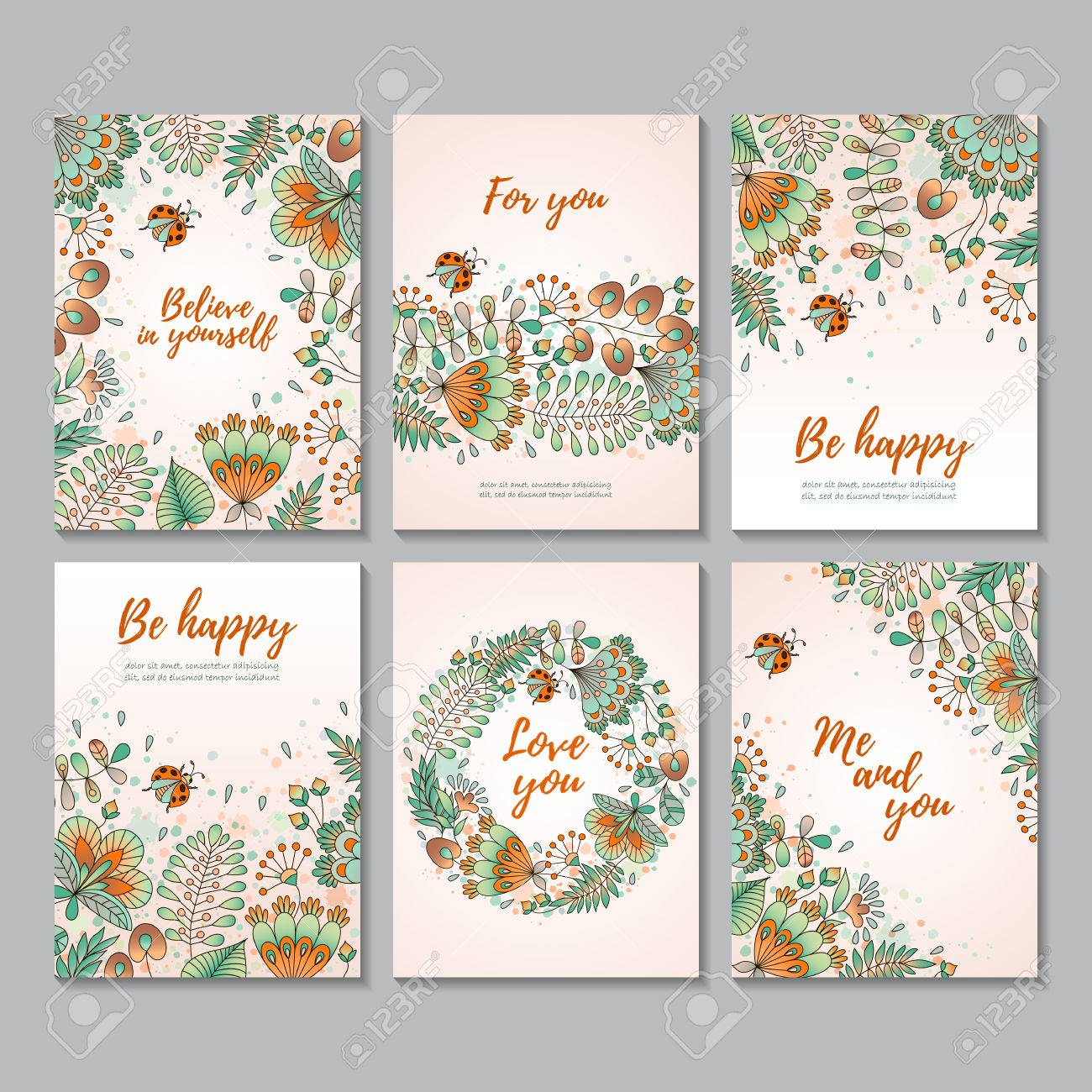 Set of six vector vertical cards with flowers and ladybugs sketch set of six vector vertical cards with flowers and ladybugs sketch style card templates stopboris Images