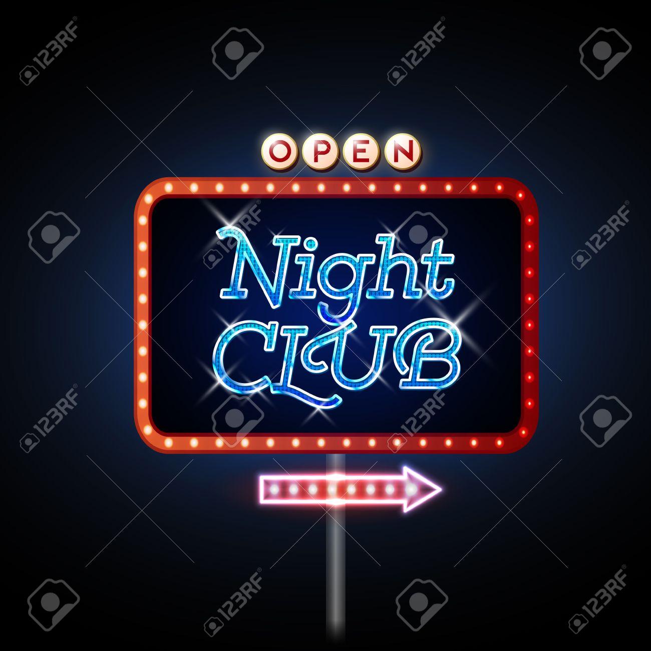 Neon Sign. Night club open - 37591824
