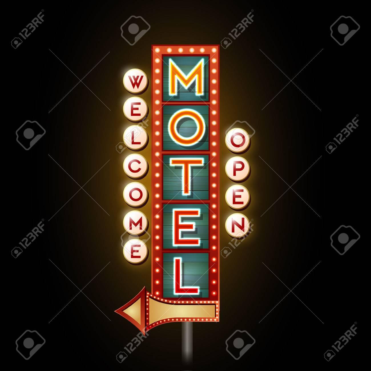 Neon Sign. Motel open - 37591825