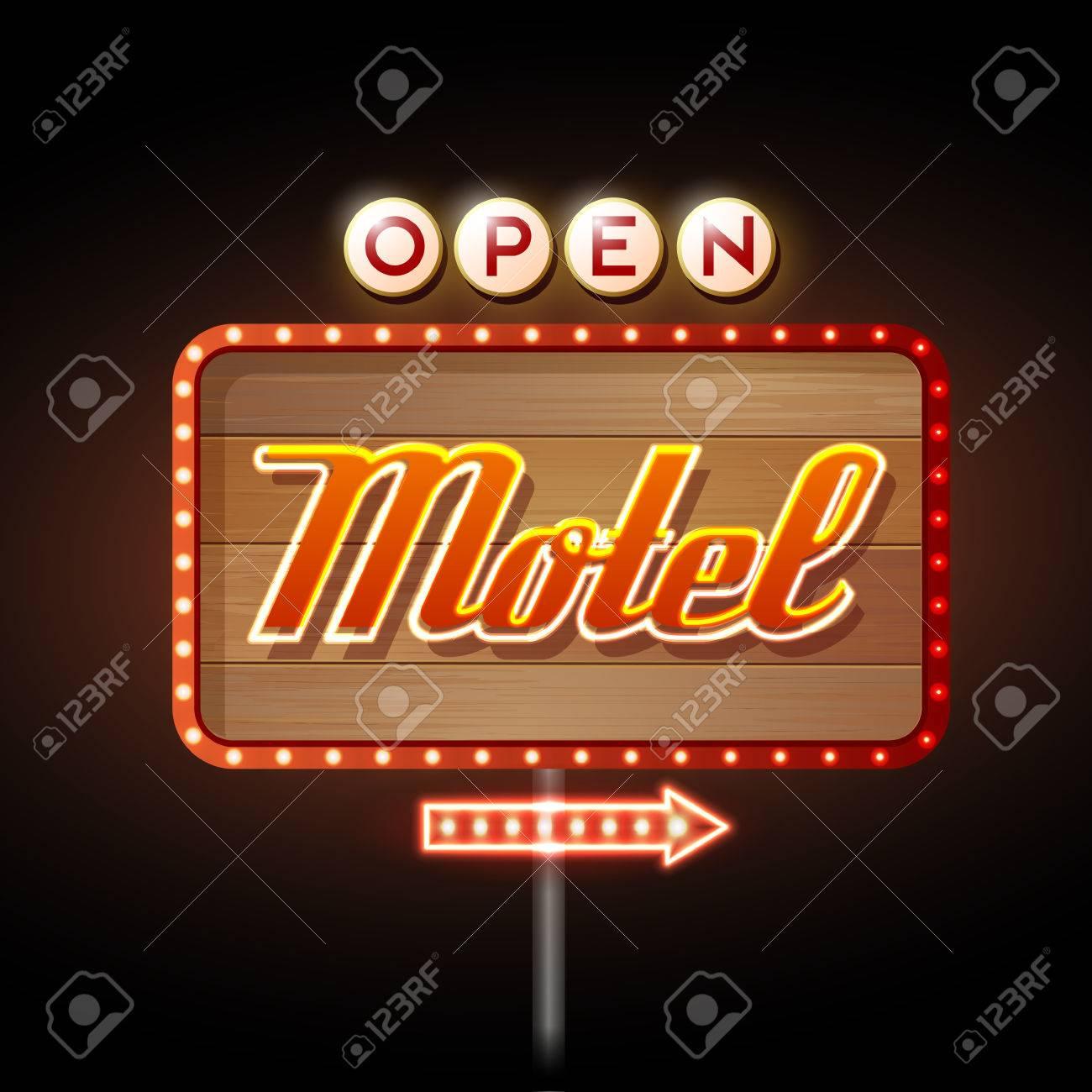 Neon Sign. Motel open - 37591827