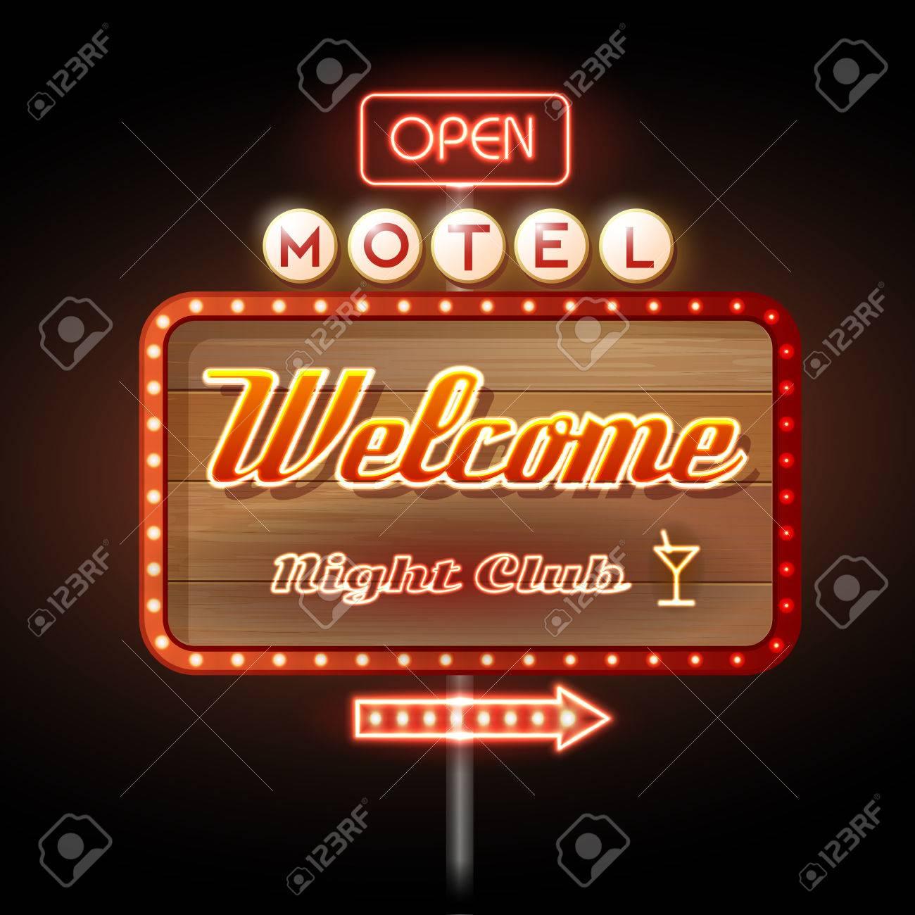 Neon Sign. Motel open - 37591828