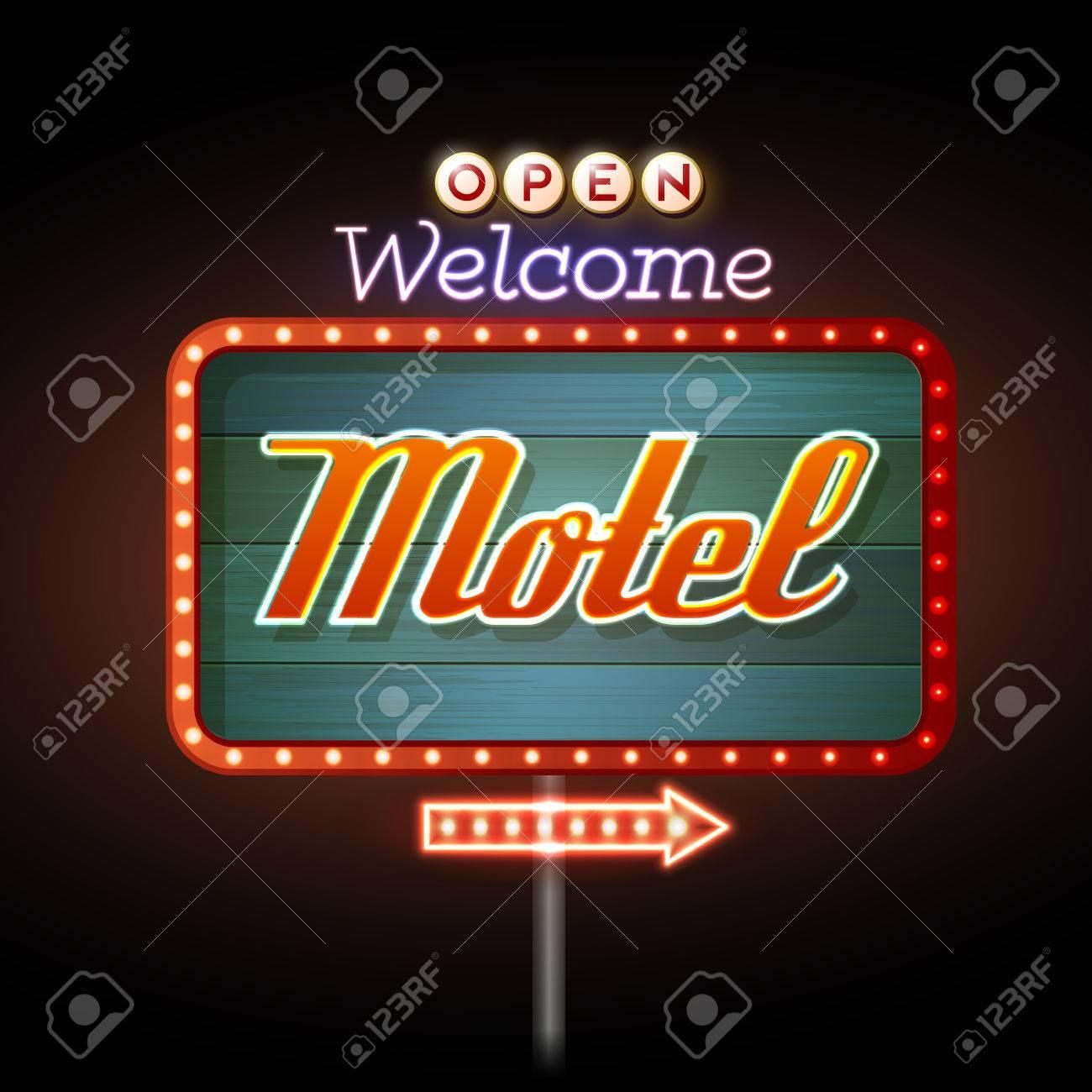 Neon Sign. Motel open - 37591839