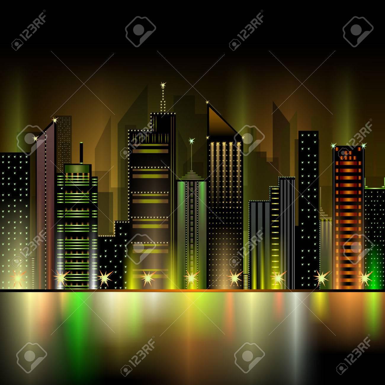 Ciudad Nocturna De Neón Ilustraciones Vectoriales Clip Art