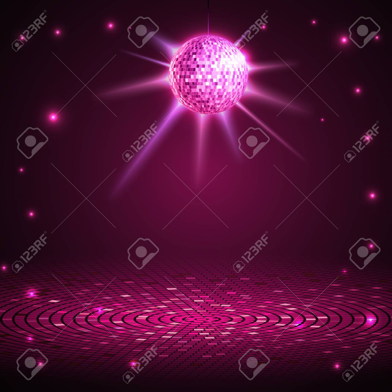 Disco poster with disco ball. Disco background - 76260371