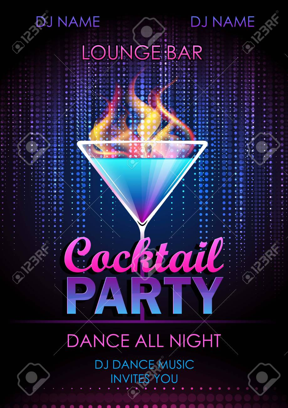 Disco background. Cocktail party poster - 78612677