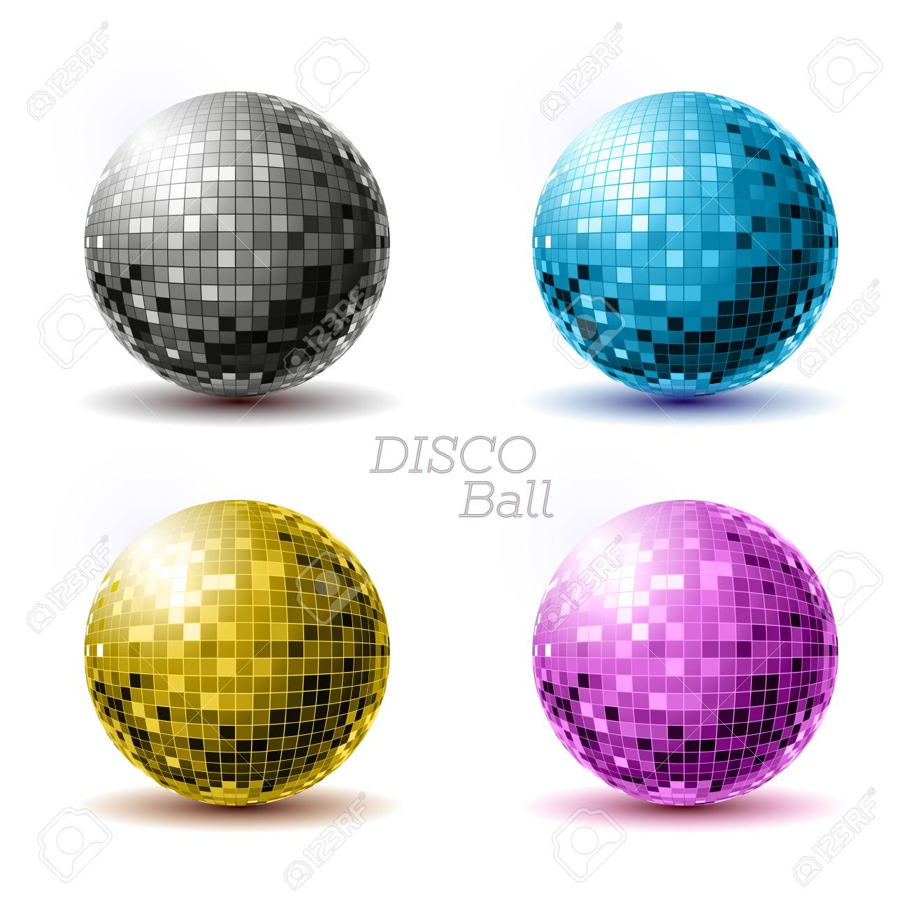 Set of disco ballls. Disco background - 79181838