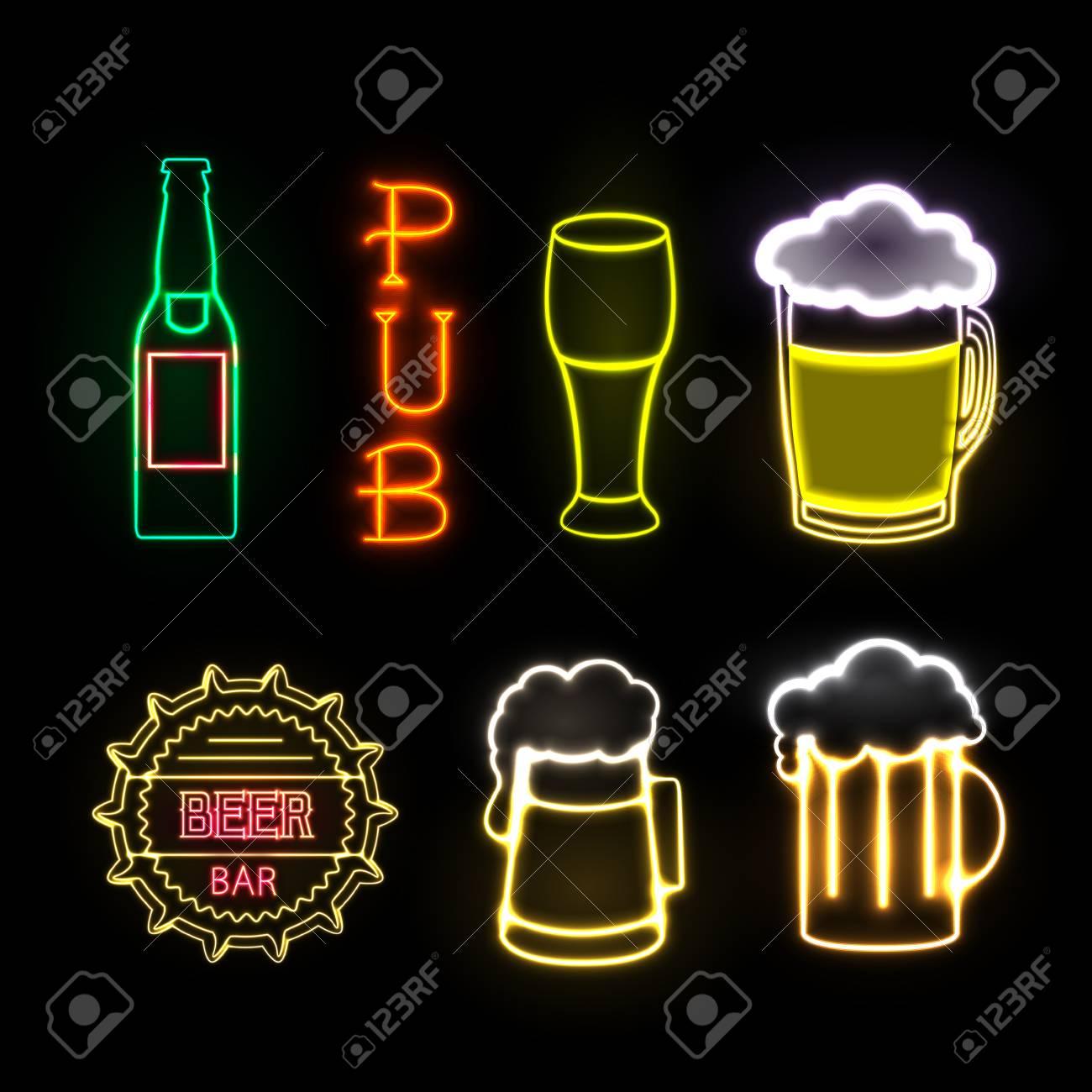 Neon sign. Beer bar - 79330150