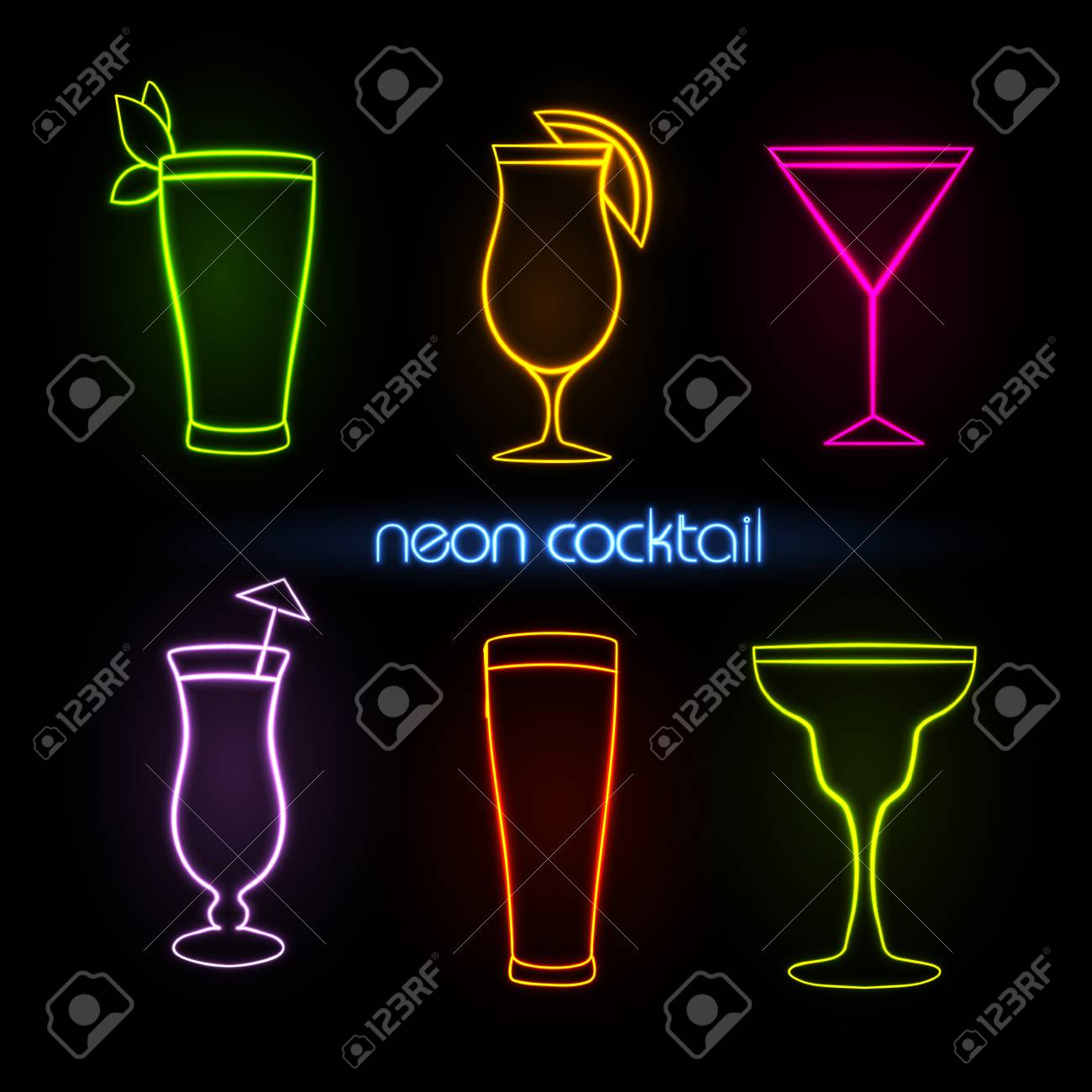 Neon sign. Cocktail - 79333038
