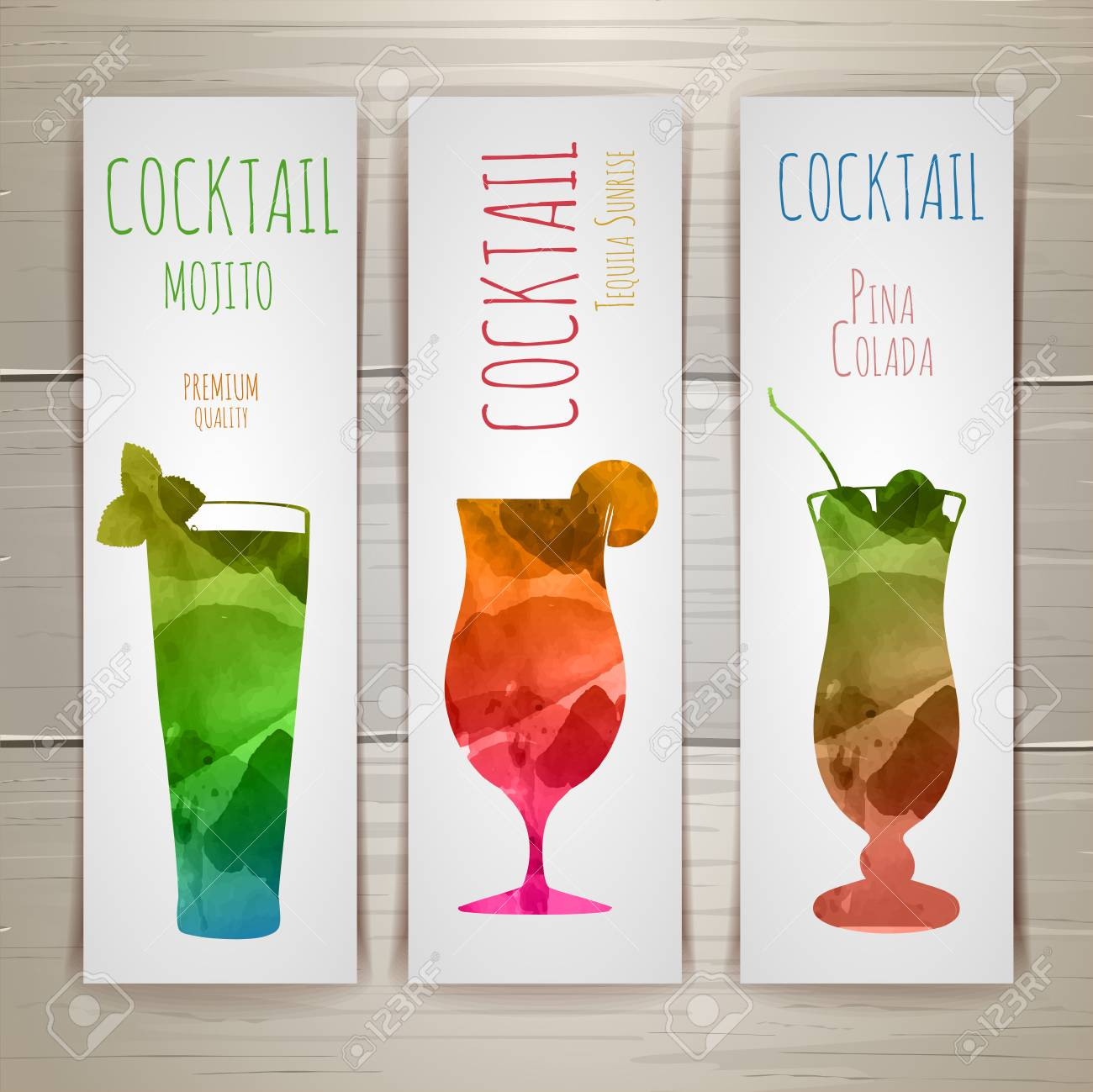 Set of watercolor cocktail banners - 79662174