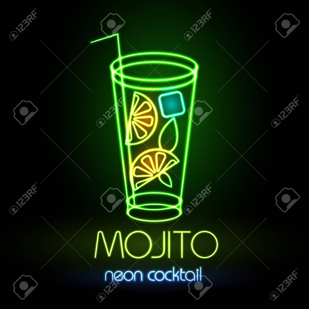 Neon sign. Cocktail - 79716254
