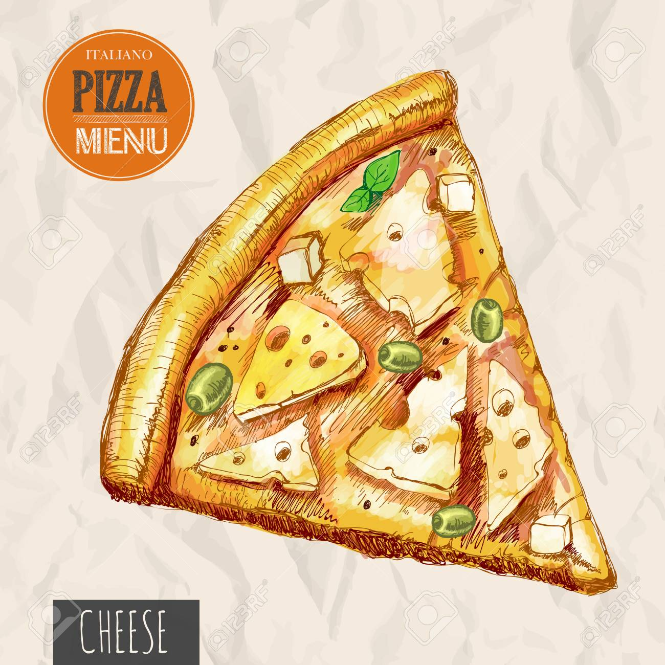 A Slice Of Cheese Pizza Stock Vector