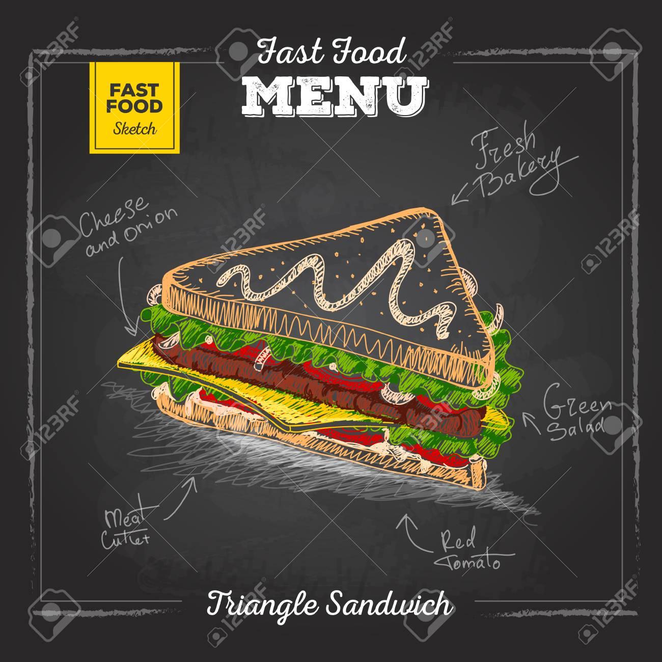 Vintage chalk drawing fast food menu. Sandwich sketch - 80495696
