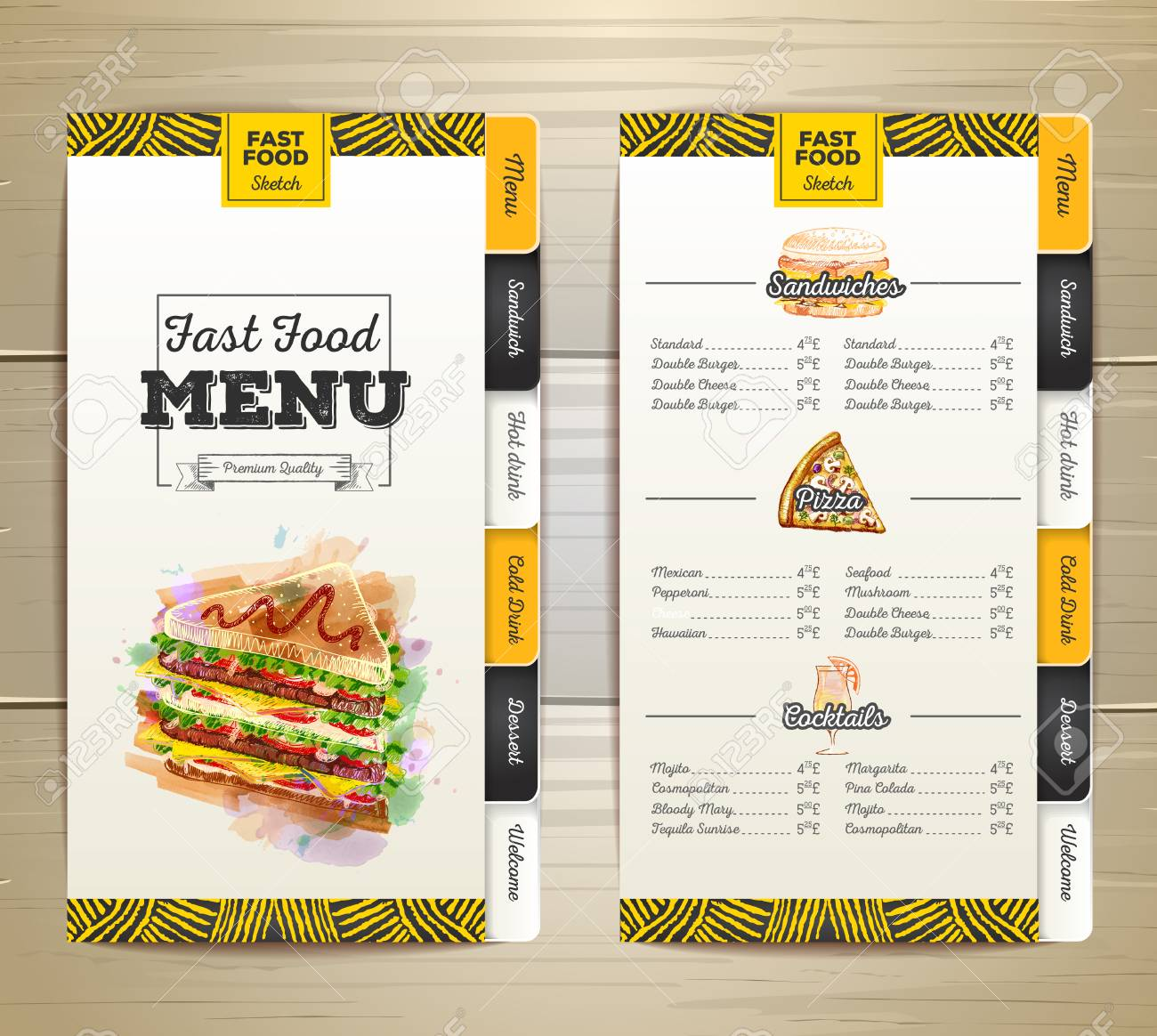 vintage chalk drawing fast food menu design royalty free cliparts