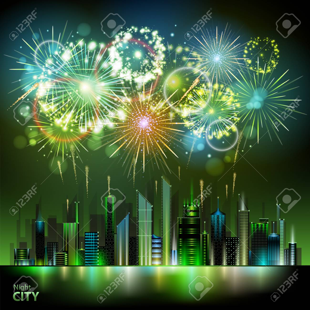 Holiday firework and night city. - 80927919