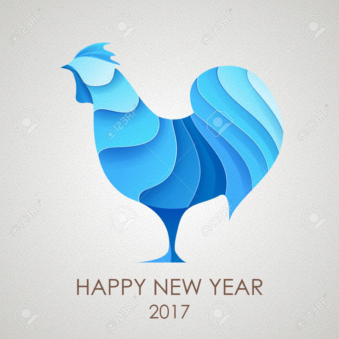 3d origami silhouette of rooster or chicken happy new year card 2017 stock vector