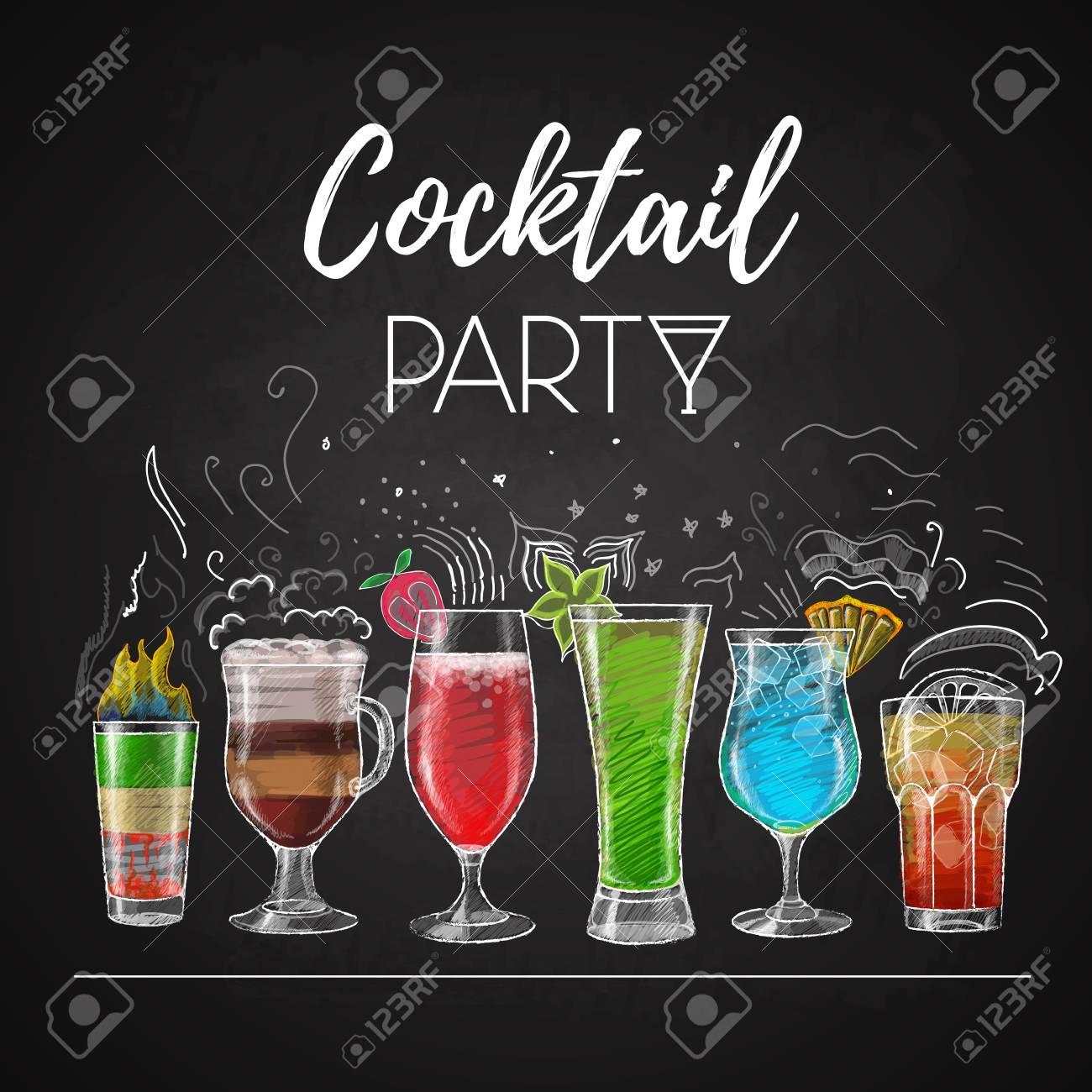 Chalk drawings. Cocktail menu - 92176910