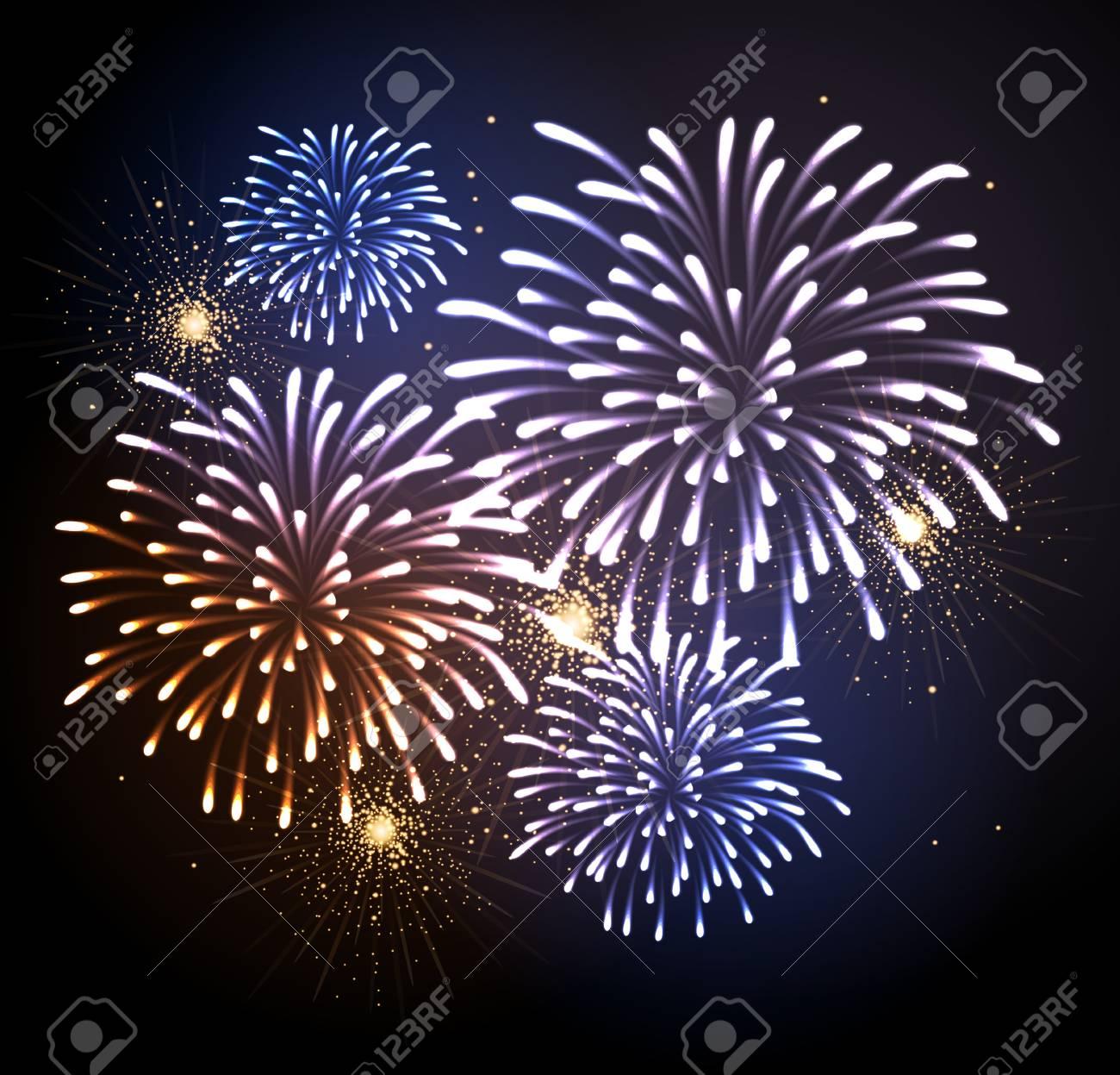 Vector Fuegos Artificiales De Vacaciones Dia De La Independencia