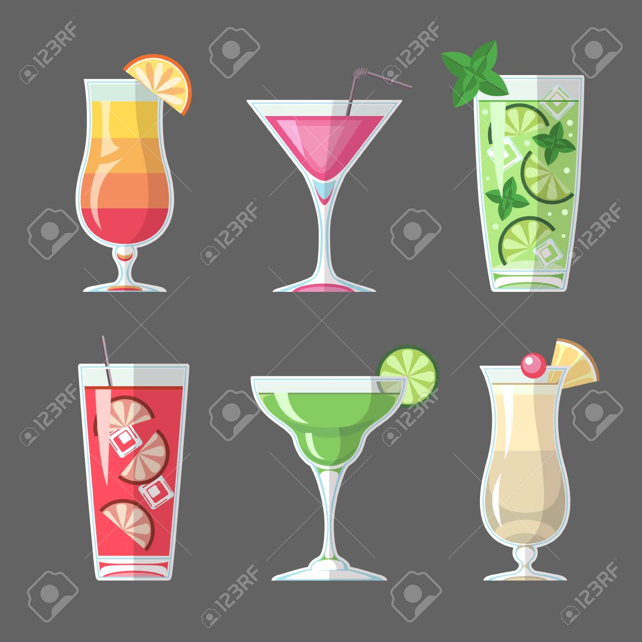 Flat style cocktail menu design - 98880305