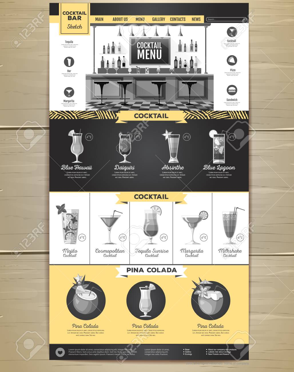 Flat style cocktail menu concept for Web site design. Corporate identity. - 99614337