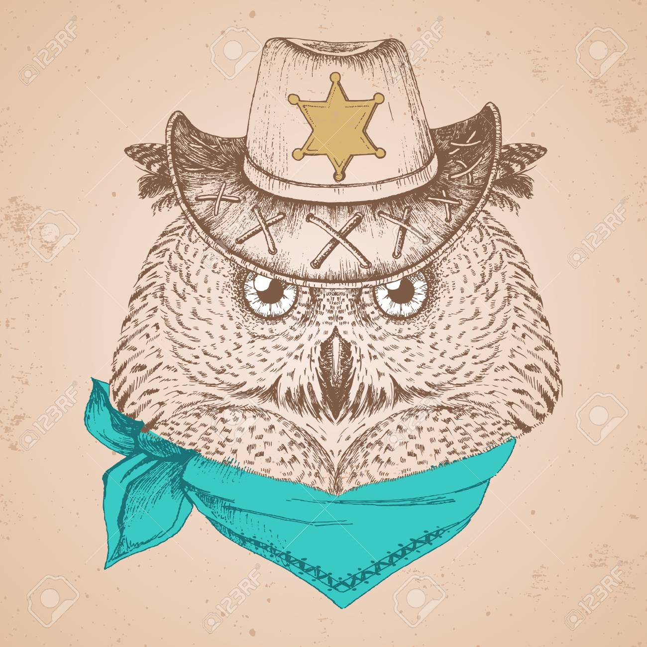 Retro Hipster bird owl. Hand drawing Muzzle of bird owl. - 100676354