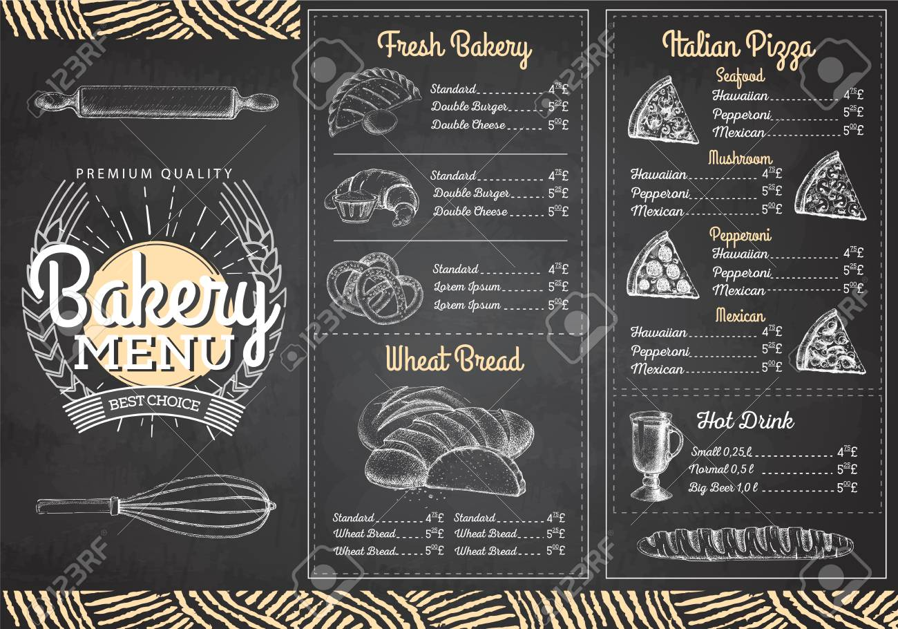 Vintage Chalk Drawing Bakery Menu Design Restaurant Menu Royalty Free Cliparts Vectors And Stock Illustration Image 106555156