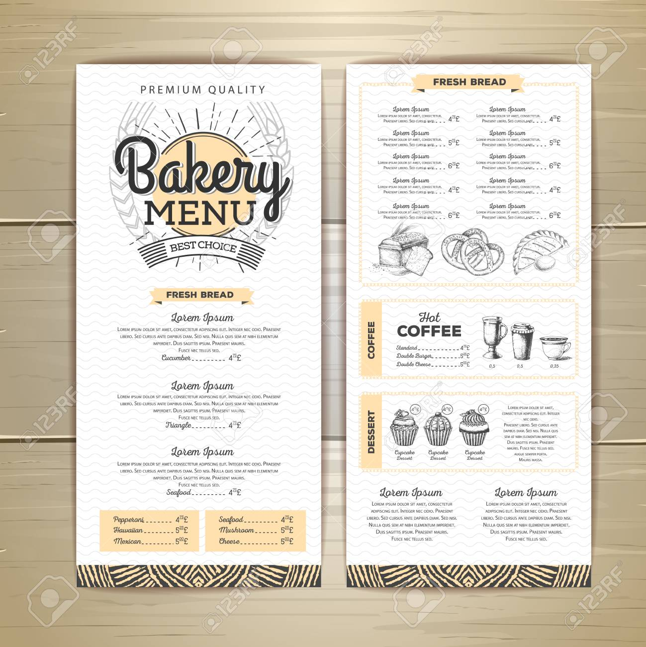 vintage bakery menu design restaurant menu document template