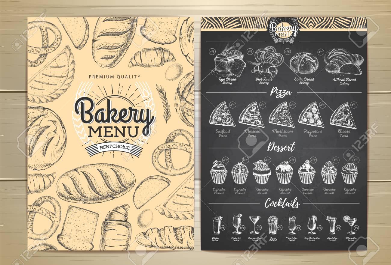vintage chalk drawing bakery menu design restaurant menu royalty