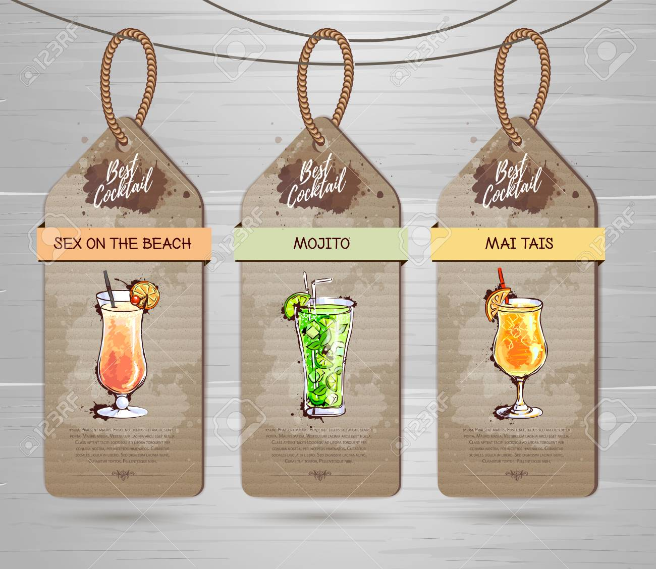 Set Of Restaurant Labels Cocktail Menu Design Royalty Free Cliparts Vectors And Stock Illustration Image 106594592