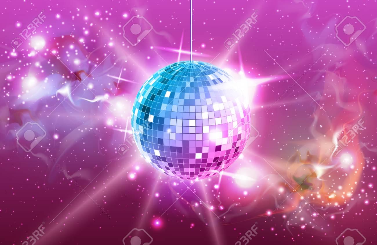 Disco ball. Disco ball pink background - 109171357
