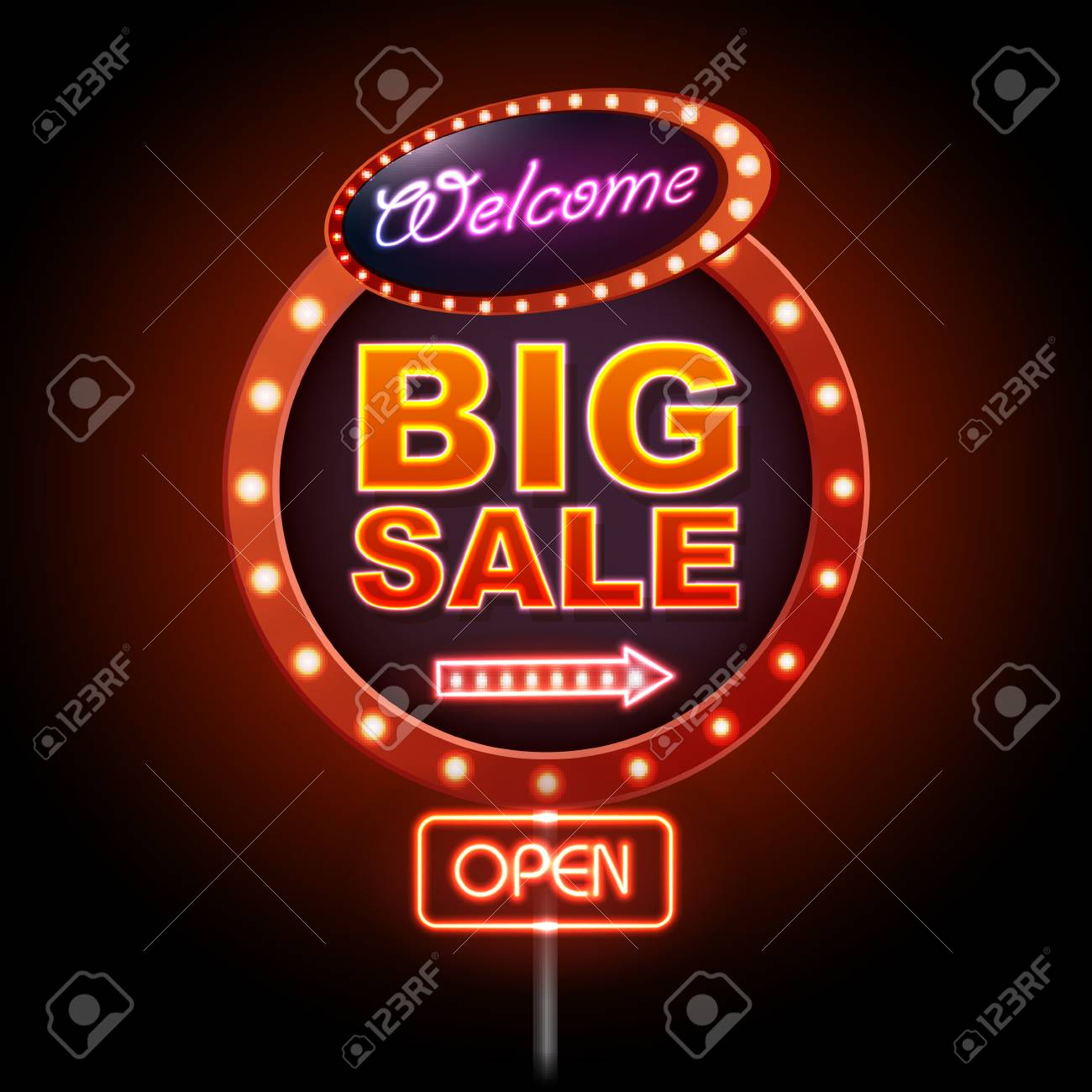 Neon sign big sale open. Vintage electric signboard. Road sign - 109723354