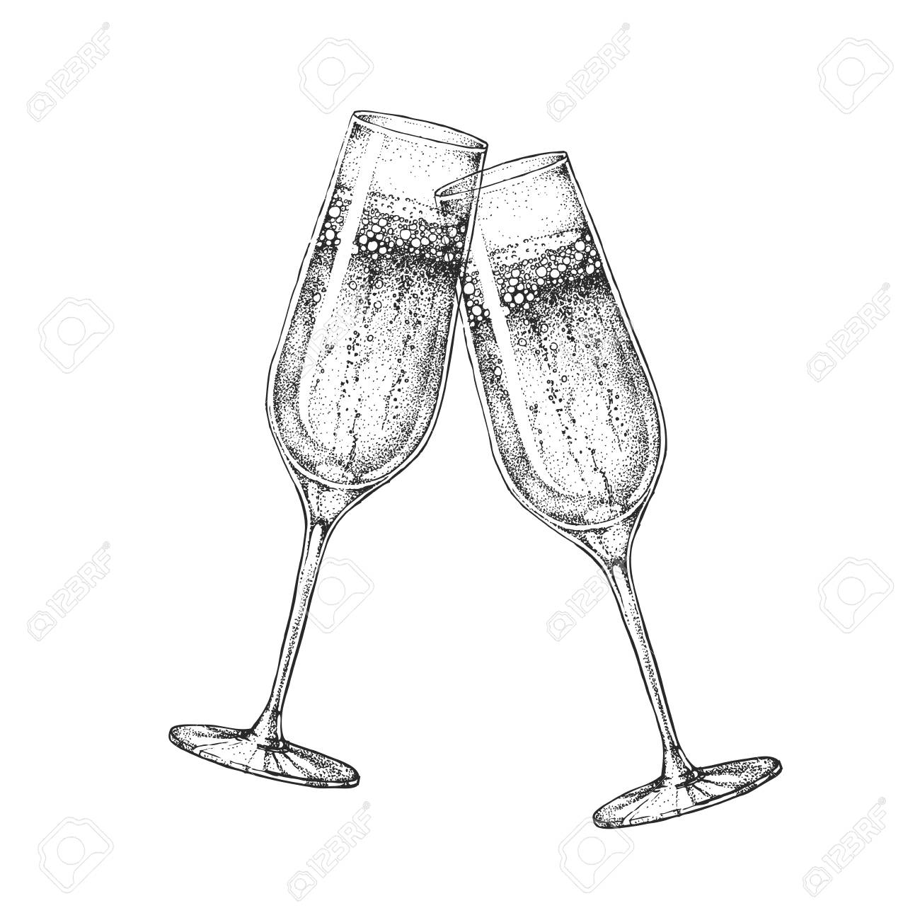 Two clinking champagne glasses - 111107260