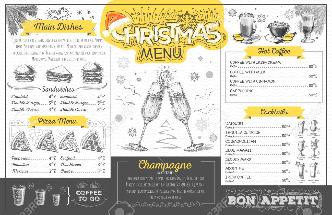 Vintage holiday christmas menu design with champagne  Restaurant