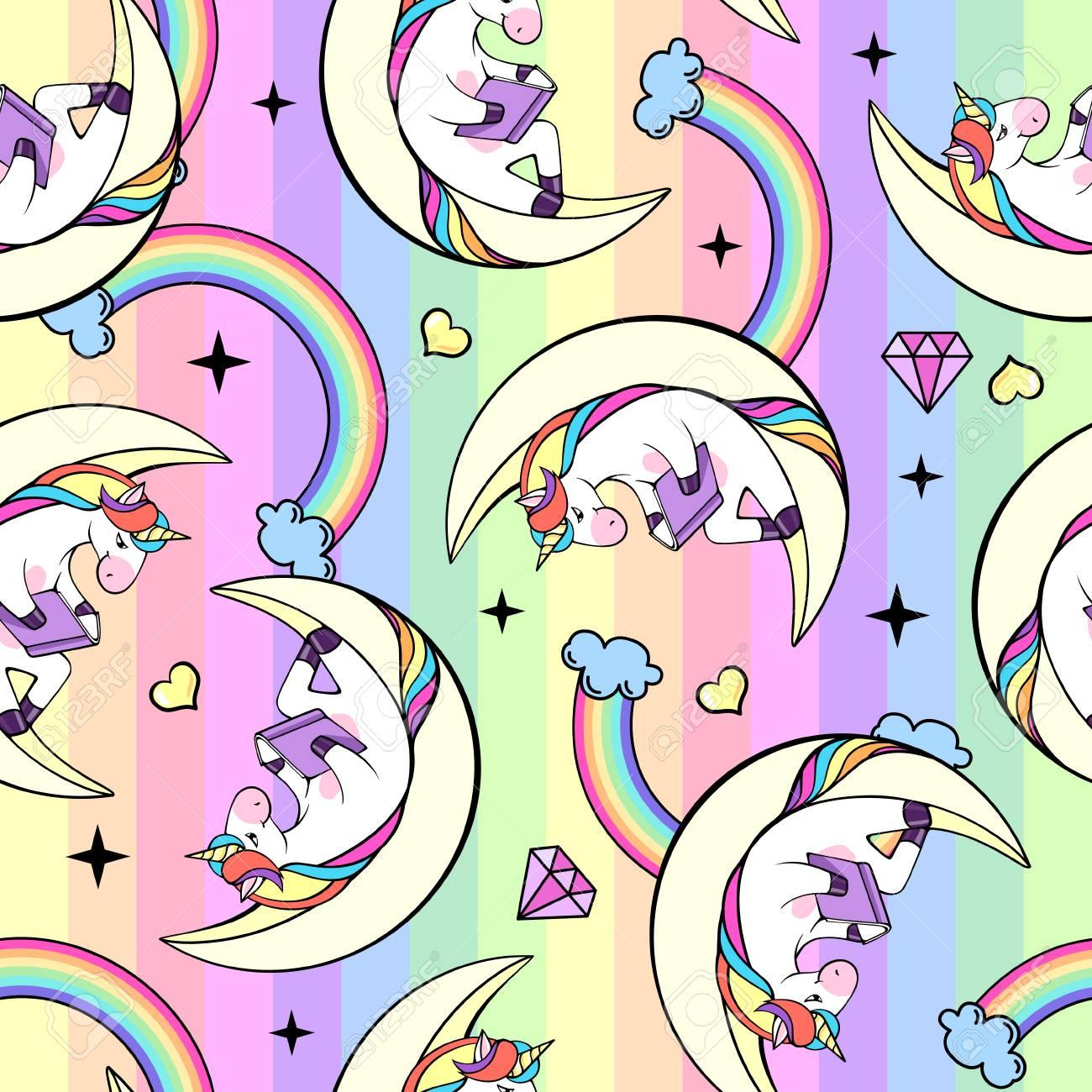 Christmas Seamless pattern with unicorn. Cartoon children background - 111949006