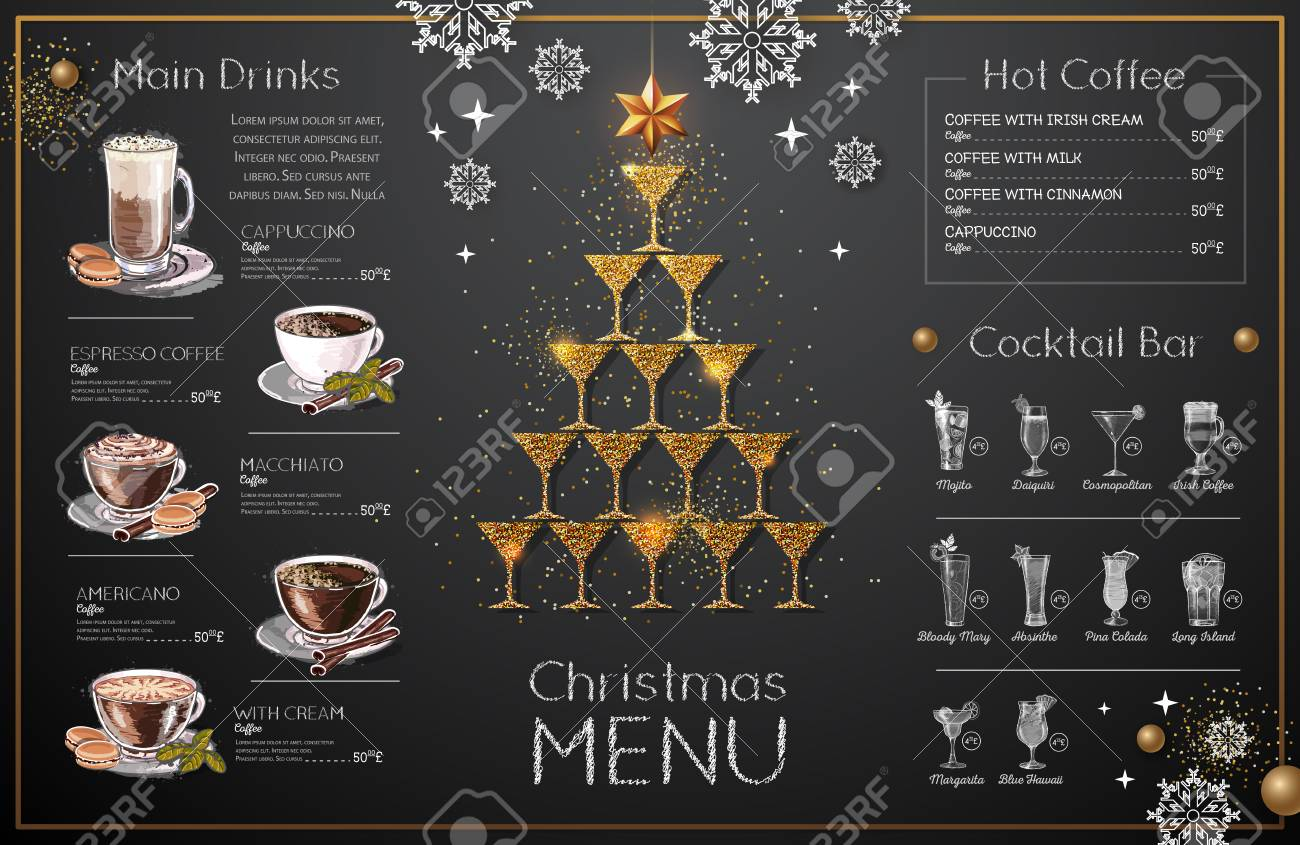 christmas menu design with golden champagne glasses restaurant