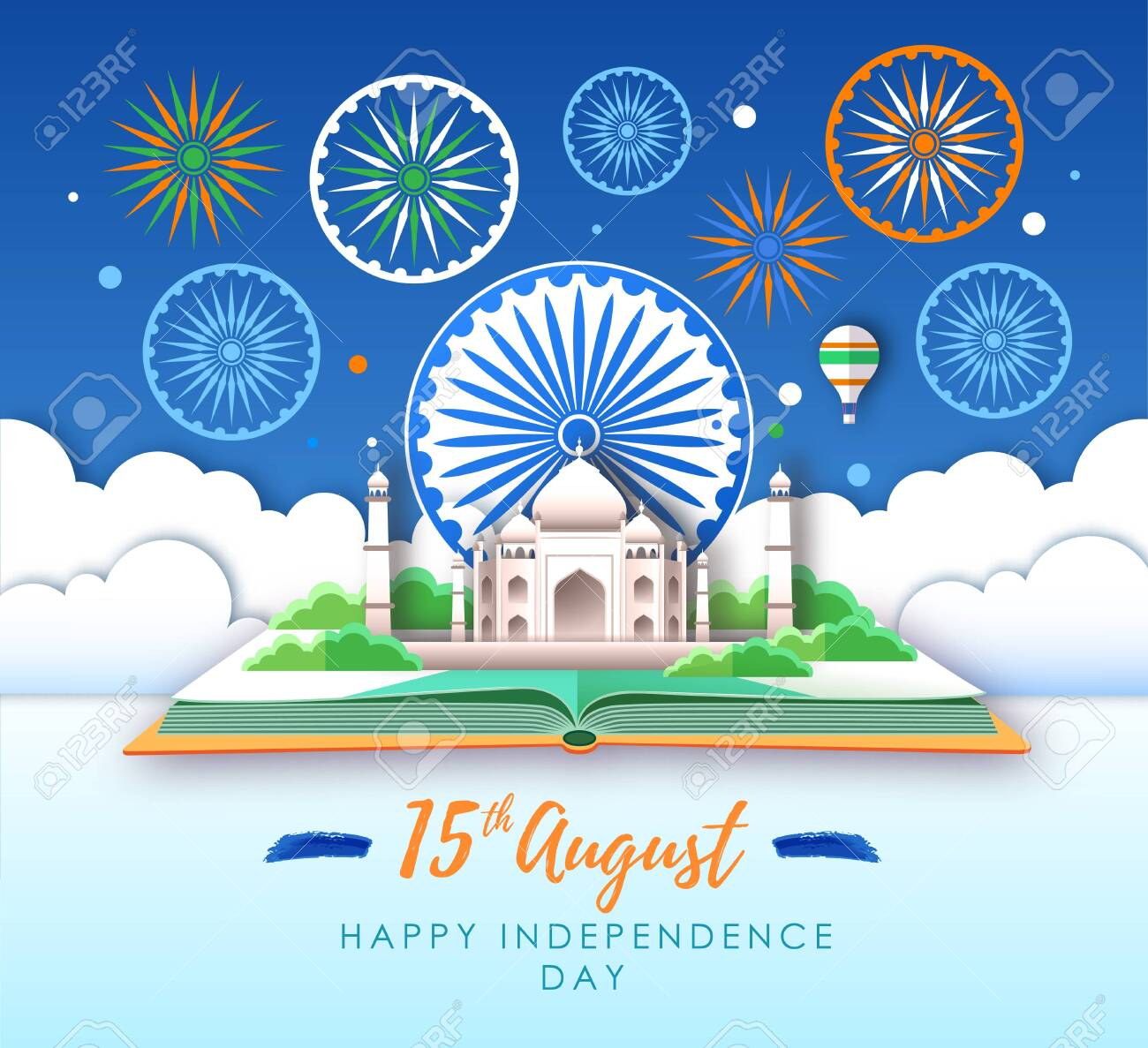 Independence day of India. Taj Mahal and holiday firework. Cut out paper art style design - 123083775